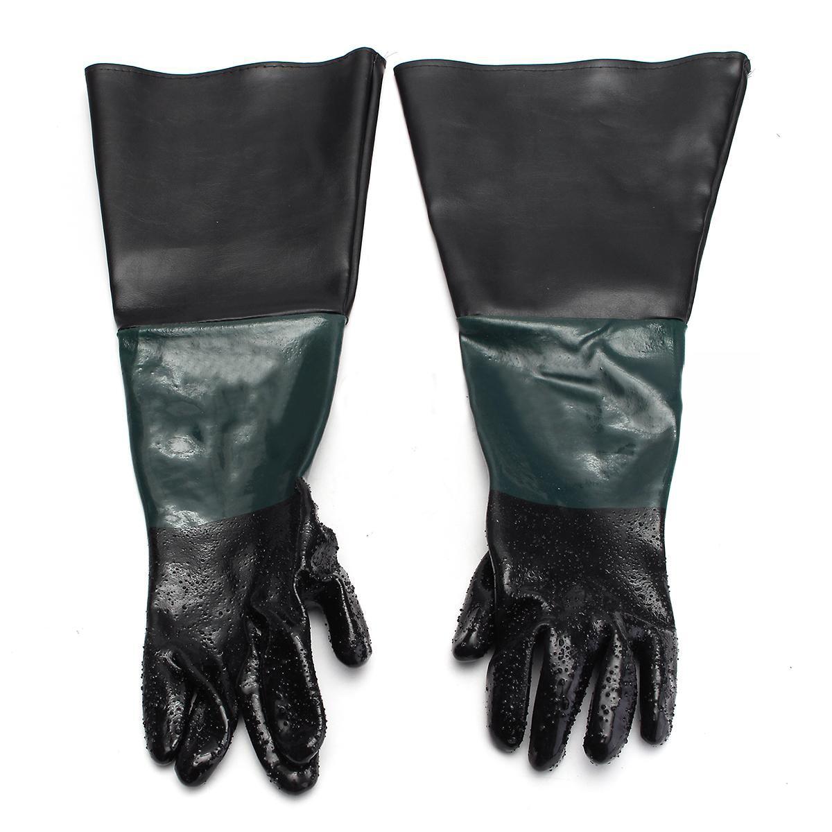 1 Pair 60cm Durable Sandblasting Gloves Heavy Duty Work Gloves For Sandblaster Sand Blast Cabinet pvc sandblaster gloves 60cm