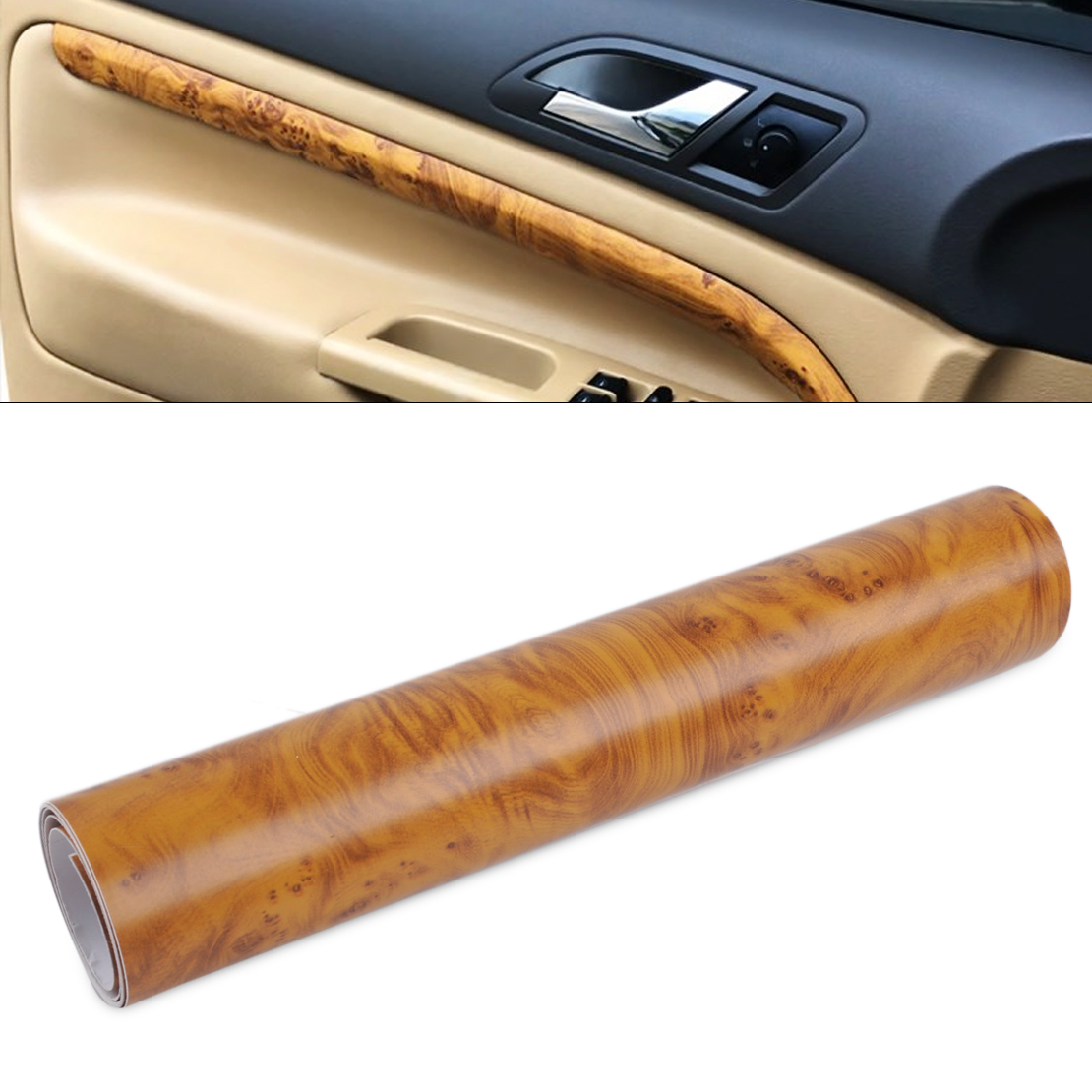 DWCX New Car Styling Birds Eye Wood Grain Textured Sticker Decal Sheet Film Wrap Roll Car Decoration 100 x 30cm fit for all car