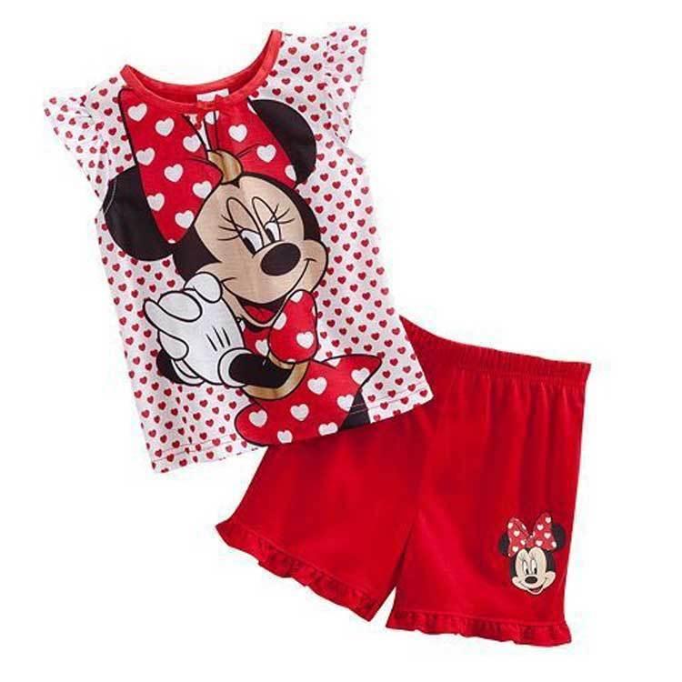 2018 Summer Kids' Pajamas Set Girls Vest and Shorts Sleepwear Cotton Minnie Mouse Print Fashion revere collar allover flamingo print blouse & shorts pajama set