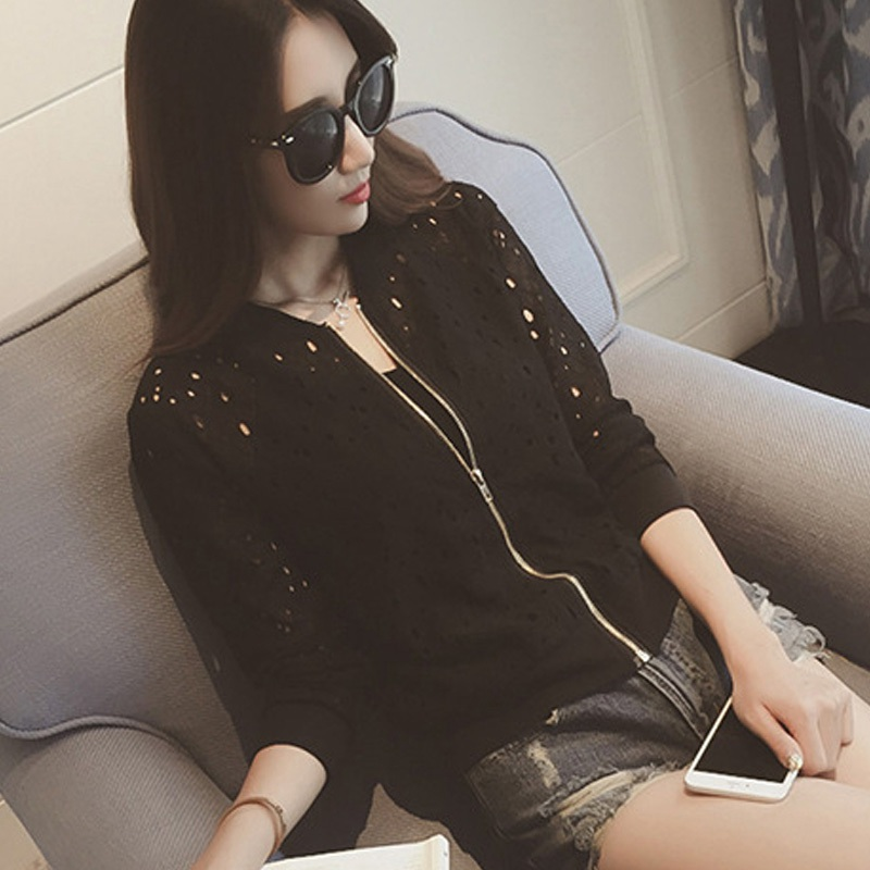 Autumn Version Thin Hollow Out Lace Slim White Rash Guards Female Short Zipper Baseball Jacket Coat