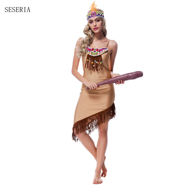 SESERIA Tassels Indian queen costumes Indian Costume Womens Native American Indian Wild West Fancy Dress Party  sc 1 st  AliExpress.com & SESERIA Tassels Indian queen costumes Indian Costume Womens Native ...