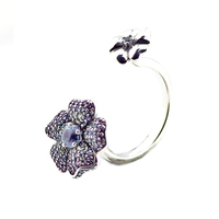 100% 925 Sterling Silver Jewelry Glorious Blooms Silver Ring with Multi Colored CZ Trendy Rings for Women New Spring FLR154