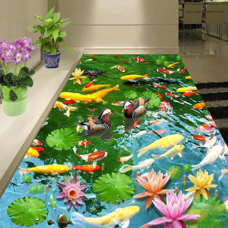 PVC Self Adhesive Waterproof 3D Floor Murals Pastoral Style Lotus Pond Wall Paper Sticker Living Room Home Decor 3D Floor Tiles
