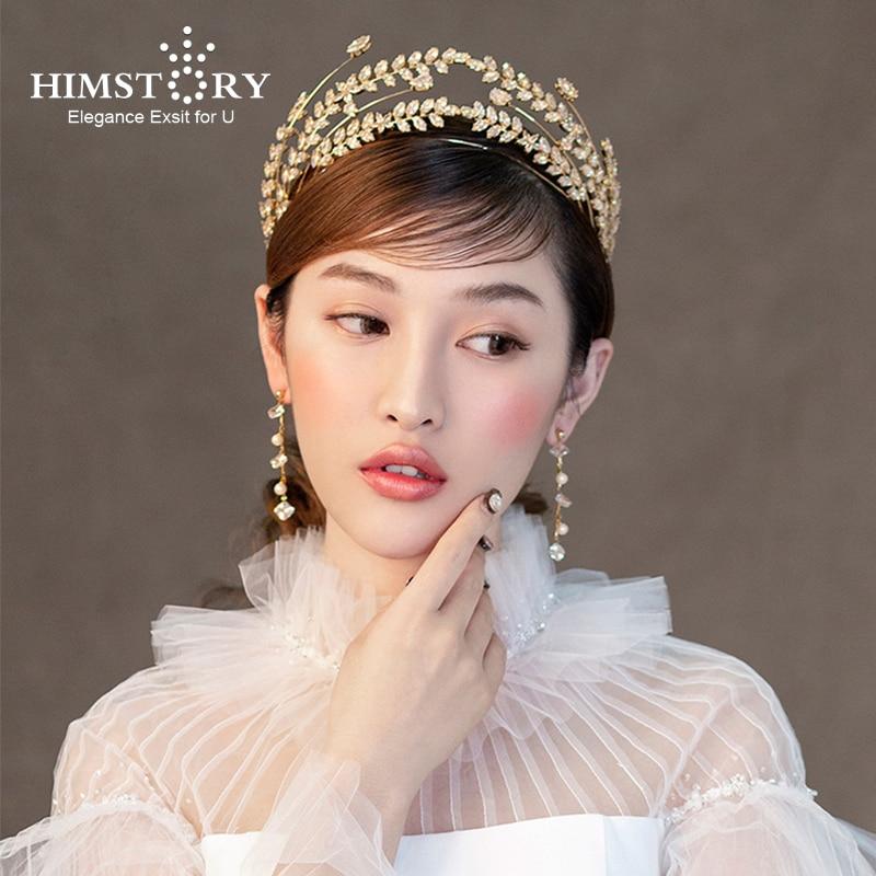 HIMSTORY Baroque Princess Gold Brides Crowns Tiaras Zircon Crystal Tiaras Headband Bridal Hair Jewelry Wedding Hair