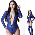 Hot Sexy 200D Latex Sexy  High Cut Bodysuit Catsuit Thong Body Suits For Women Long Sleeve Club Wear Bodies Night Dance Wear
