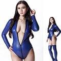 Sexy látex Sexy Bodysuit macacão de corte 200D tanga corpo ternos para mulheres Club Wear manga comprida corpo noite de dança desgaste
