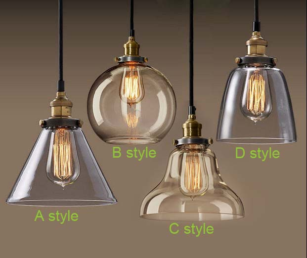 Light Bulb Pendant Copper Gl Restaurant Single Vintage Retractable Wall Lamp American Style In Lights From