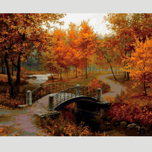 Scenery Needlework DIY Diamond Painting Rhinestone Pasted Painting Full Embroidery Autumn Forest & Bridge Living Room Decoration