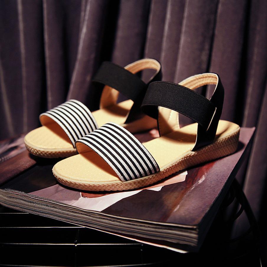 Fashion Women Flats Summer Hot Sale Sandals Female Stripe Flat Heel Anti Skidding Comfort Open Toe Beach Shoes Sandals Slippers 15