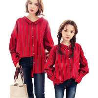 Mother And Daughter Clothes Vertical Stripes Shirt Loose Casual Blouse 2018 Spring Family Matching Clothes Kids