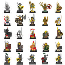 Medieval Knights Figures Gladiatus Dragon Warrior Soldier Weapon shield helmet Pharaoh Building Blocks Bricks Toys For Children(China)