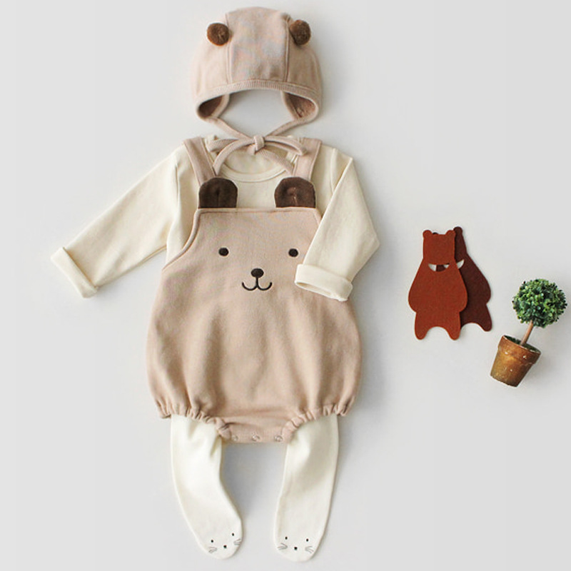 Image 4 - Odzież niemowlęca zestaw wiosna jesień dziecięcy pajacyk bawełniany + kapelusz dla dzieci dwa kawałki garnitury dla niemowląt odzież garniturKombinezonyMatka i dzieci -