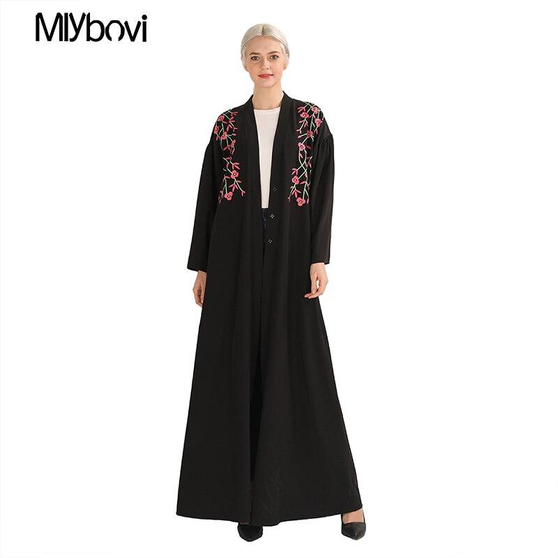 Femmes musulmanes dentelle noir garni Floral avant Abaya musulman Maxi caftan Kimono caftan dubaï islamique vêtements abayas pour les femmes