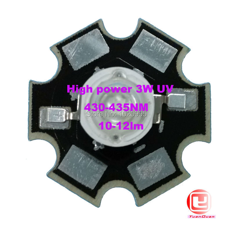 Factory Sale, 10PCS/LOT <font><b>3W</b></font> <font><b>UV</b></font> High Power 430NM <font><b>LED</b></font> Emitter Light with 20mm Star Platine Heatsink image