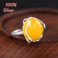 Saf Gümüş Yüzük Boş Kadınlar için Yeni tip balmumu amber turkuaz safir Yüzük Aksesuar ile pazarı diy