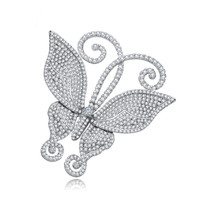 Fashion Vintage Butterfly Cute Women Brooch Pins Delicate CZ Crystal Rhinestone Bridal Wedding Party Brooches Jewelry