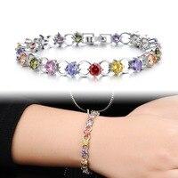 Multicolor/White Rhinestone Women Bracelets - White Gold Color Link Chain 4