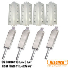 Hisencn Barbecue Parts SS Burners, SS Heat Plates Tent Replacement For Charbroil 4634522, 4634532, 46344532, Kenmore Gas Grill