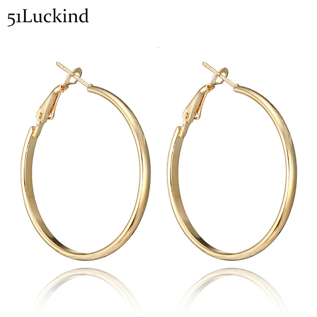 40mm Large Round Hoop Earrings Silver Gold Piercing Circle Loop Earring For Women Creole Jewelry Penntes