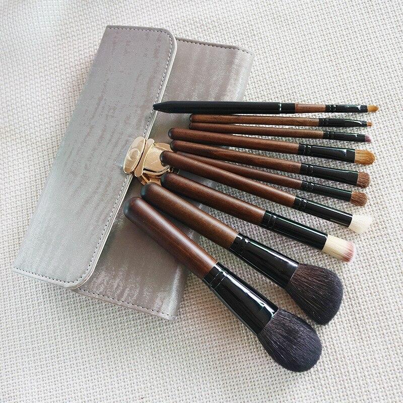 BBL 10pcs Rose-wood Pro Makeup Brushes Set + Bag Goat Hair Cosmetic Tools Powder Eyeshadow Blending Smoky Face Make Up Brush Set