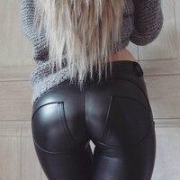 Faux Pu Leather Leggings Thick Black Push Up High Waist Leggings Women Plus Size Winter Legging Sexy Pants