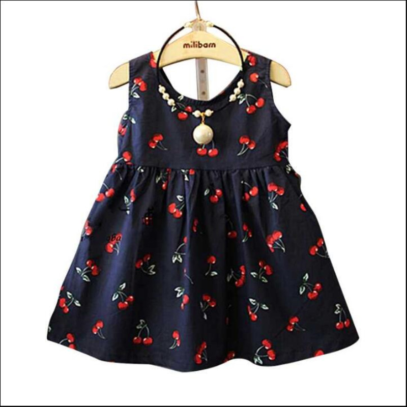 5ab4ab18fba Baby Girl Dress Summer New Baby Girls Western Style Cherry Stamp Cotton  Dress Vestidos Infantil Carters Baby Girl Clothes Elbise