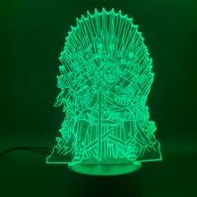 цена 3d Led Night Light lamp Game of Thrones Lord Eddard Stark Ned Iron Throne Nightlight for Children Gift Office Room Decoration онлайн в 2017 году