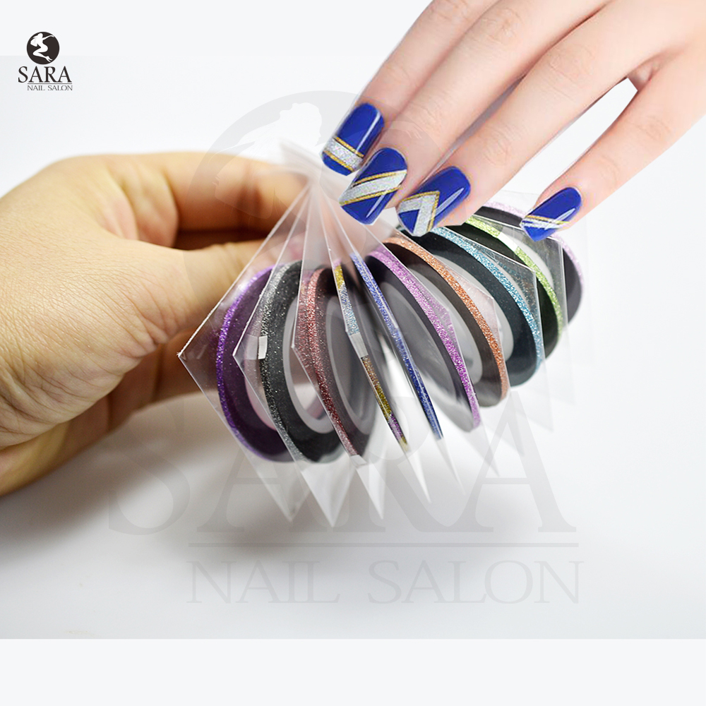 1roll 2mm nail art 10colors optional glitter striping tape for Adhesive decoration