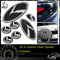 7pcs 3D carbon fiber Speed Emblem Badge Set (Grille Trunk Steering Wheel 4 Rims) For 2011 2012 2013 Kia Optima K5
