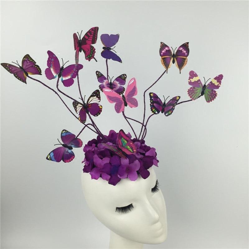 Butterfly Floral Hairband Girls Princess Queen Headwear Model Catwalk Makeup Accessories Stage Performance Headdress