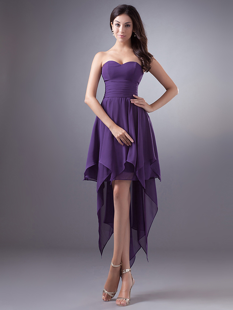 Us 83 66 Simple Purple Short Front Long Back High Low Sweetheart Chiffon Bridesmaid Dresses Cheap Beach Wedding Guest Dresses New Arrival In