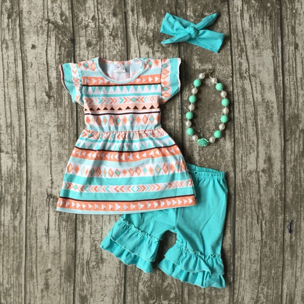 new arrival baby girls Summer clothing cotton boutique auqa AZTEC shorts kids wear ruffles outfits  match accessories