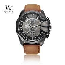 Fashion V6 Brand Mens Watch New Design Analog Sports Quartz Watches Men Clock Business Style Wristwatch Reloj Hombre 2016