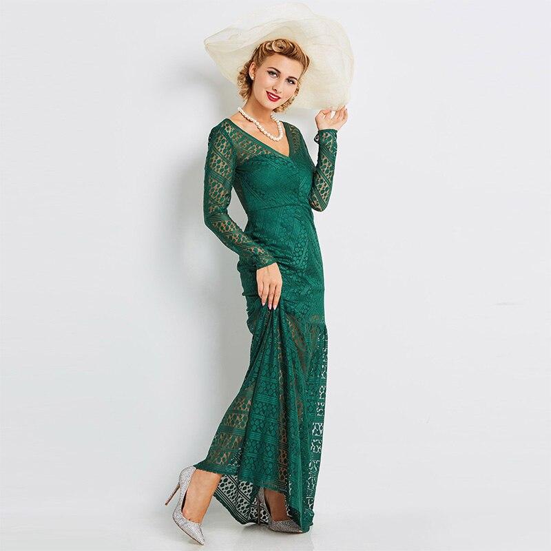Sisjuly 2018 Summer Sexy Dresses Floor Length Women Dark Green Luxury Dress V Neck Trumpet Mermaid Lace Club Maxi Party Dresses
