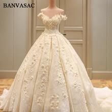 BANVASAC 2018 Gambar-gambar Seragam Boat Leher Gaun Perkahwinan Gaun Perkahwinan Lace Appliques Bunga Saiz Plus Cathedral Train Gaun Perkahwinan