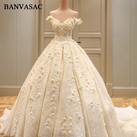 BANVASAC 2018 Real Photos Boat Neck Ball Gown Wedding Dresses Lace Appliques Flowers Plus Size Cathedral Train Bridal Gowns