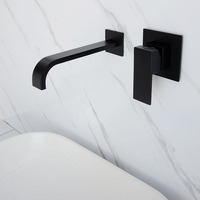 Matt Black & Chrome Brass Wall Mounted Basin Water Mixer Bathroom Quality Brass Single Handle Faucet Black Hot and Cold Tapware
