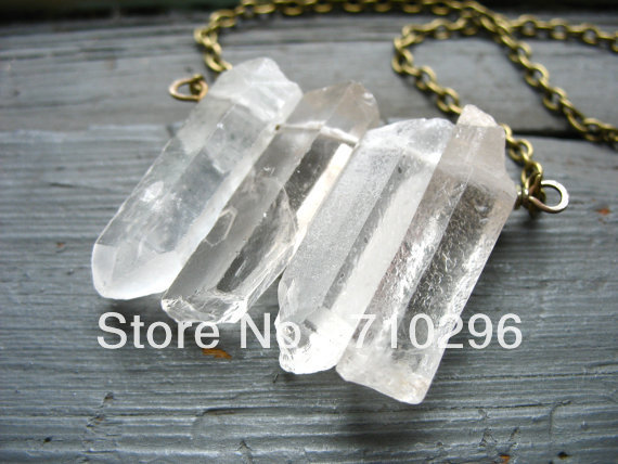 69af98b0f61f Natural claro cuarzo Punto de cristal piedra de Gema collar 5 unids lote