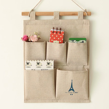 2016 New Arrival Grocery Jute Hanging Storage Bag Remote Wall / Sundries 0061