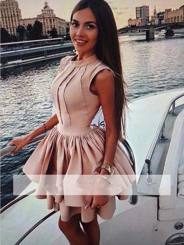 2019 Elegant Cocktail Dresses A line High Collar Short Mini Satin Party Plus Size Homecoming Dresses