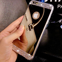 Luxury Hand Made Beautiful Plating Crystal Mirror Case For Samsung S7 Edge Soft TPU Cover Phone