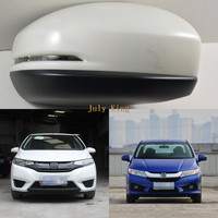 LED Rear view Mirror Lights With Cover, Yellow LED Turn Signal Lights case for Honda Fit Jazz III City 2014+, Fast Shipping