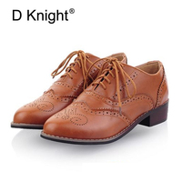 Vintage Carved Women Brogue Oxfords Fashion Round Toe Lace Up Oxford Shoes For Women Big Size 34 43 Ladies Flat Oxfords