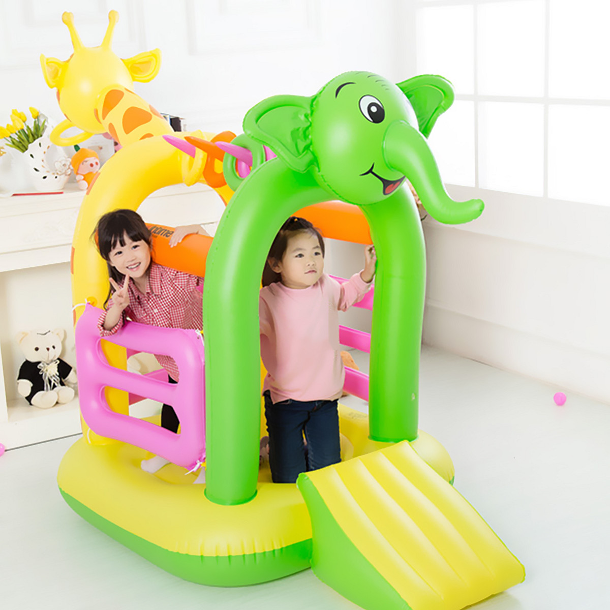 Inflatable Kids Children Bouncy Slide Castle Jumping Bouncer PVC House Outdoor Play Multi functional Design Colorful Non toxic