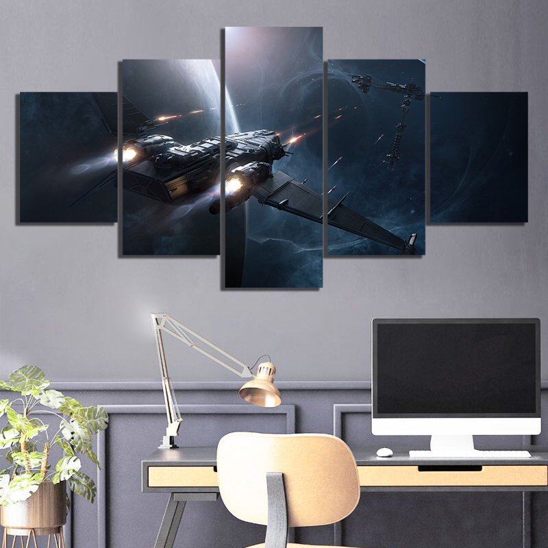 5 Piece HD Fantasy Art Pictures Space Ship Star Citizen Video Game Poster Wall Sticker Canvas Paintings for Home Decor Wall Art 2