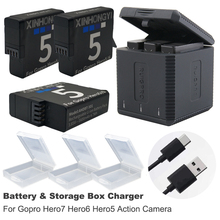 1600mAh Hero7 battery and case + USB type-c storage box charger for GoPro hero7 6 GoPro 7 Hero6 Hero5 bateria Camera accessories 1600mah 4pcs battery for gopro hero6 hero5 black batteries 3 slots usb charger with type c port for gopro hero5 6