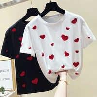 Gkfnmt femmes T-shirt amour broderie coton doux blanc T-shirt haut pour Femme d'été à manches courtes noir T-shirt Femme nouveau 2019