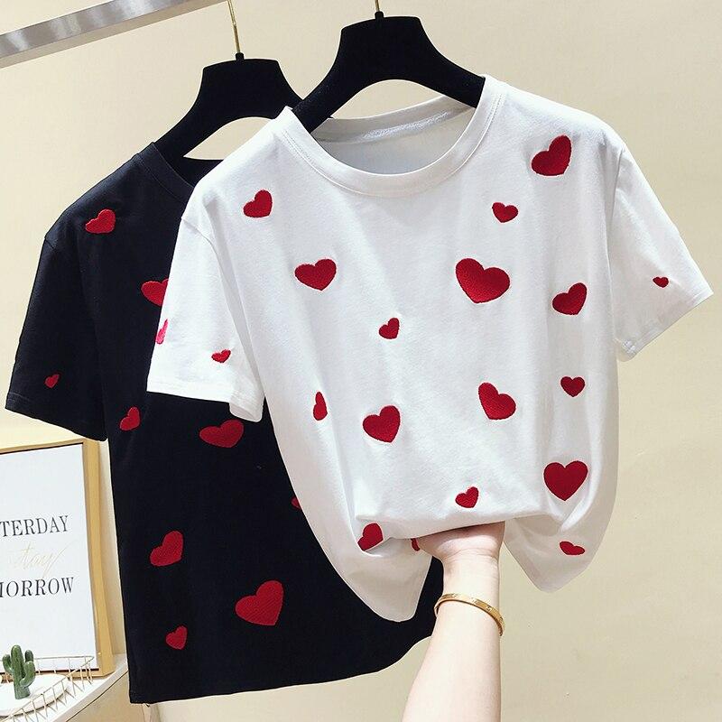 d1e86f2e0f0 ... camiseta mujer nuevo 2019. Cheap Gkfnmt mujeres camiseta amor bordado  algodón dulce blanco camiseta mujeres Tops verano manga corta negro
