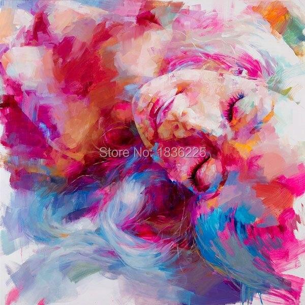 Dropship petite fille visage peinture peinture sur toile femme portrait peinture à la main lumineux moderne peintures à l'huile visage image