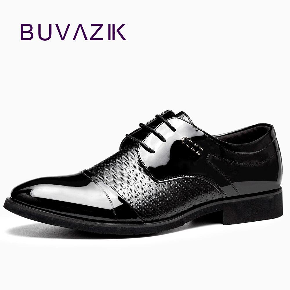 BUVAZIK 2018 mænds formelle sko sorte skinnende oxfords lace-up mode mænd spidsede tå solide håndlavede kjole forretning sko